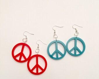 acrylic peace earrings
