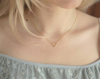 Triangle Necklace, Geometric Necklace Gold, Geometric Jewelry, Ultra thin layering necklace, Dainty Layering Jewelry, Minimalist Gold