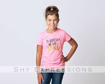 On Wednesdays We Wear Pink T-Shirt, Soft Tee - Tween, Teen, Junior, Girls, Trendy