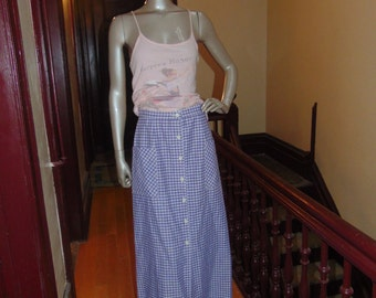 Long Gingham Blue White  Skirt