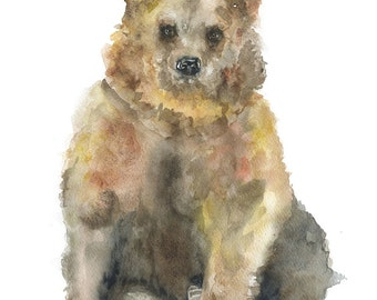 Brown Bear Watercolor Painting Giclee Print Fine Art Print 8 x 10 (8.5 x 11)
