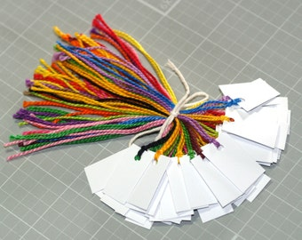 50 Tiny White Tags ... Mini Tags Price Tags Colorful Floss Ties Prestrung Tags Jewelry Tags Small Tags Blank White Tags Seller Supplies