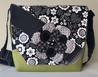 Green Messenger Bag with Black and White Flower