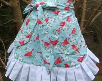 Apron // Handmade Apron // Half Apron // Bird Apron // Hostess Apron // Womans Apron // Ladies Gift // Womans Gift // Friend Gift