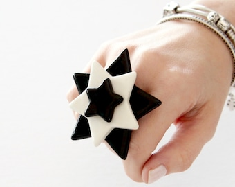 Star Ring, Statement Ring, Ceramic Ring  - big ring, oversize ring, fashion ring, handmade ring by StudioLeanne cocktail ring