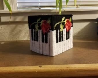 Rose & Piano Plastic Canvas Tissue Box Cover ***PDF Pattern Only***