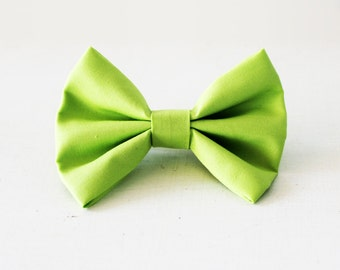 Green hair bow, Lime hair barrette, Cute green hairbow, Lime bow hair barrette, Green bow hair clip, Girl's hairbow, Sock bun bow Lime green