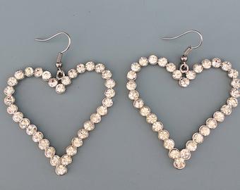 Lovely large crystal heart earrings