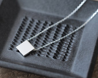 Minimal Square Necklace 925 Sterling Silver Minimalist Jewelry