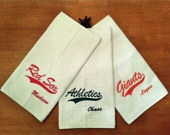 Serviette de toilette personnalisée monogramme Baseball Softball Golf Sports Cheer gymnastique