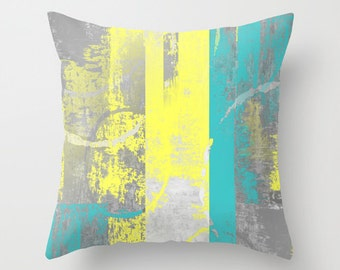 Teal Yellow Pillow Cover, Decorative Pillow, Throw Pillow Cover, Cushion Cover, Home Decor, Sofa Pillow, Couch Pillow Cover