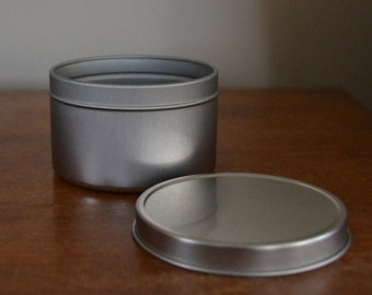 8 oz Deep Metal Tin. 5 pack. Made in USA. Seamless Tin. Rust Resistant. Base and Lid. Rolled Edges.
