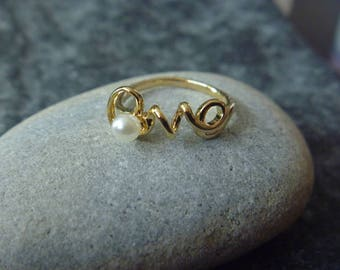 love Golden Pearl ring