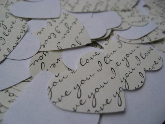 "1000 ""I Love You"" Confetti Hearts. 1 inch. Paper. CUSTOM ORDERS WELCOME."