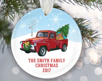 Vintage truck ornament, 1956 red pickup truck, Retro style truck personalized Christmas ornament, Antique truck Family tree Ornament OR838