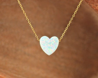 Opal heart necklace - love necklace - valentines necklace - gold heart necklace - silver heart necklace