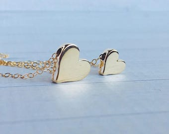 Mother Daughter Necklace Set - Mother Daughter Jewelry - Gold Heart Necklace - Mom Daughter Gift Set - Best Friend - Mother's Day Gift
