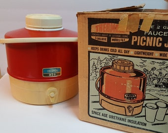 Vintage Red Thermos Deluxe 2 Gallon Picnic Jug Faucet with Original Box
