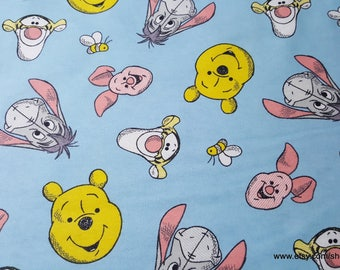 Character Flannel Fabric - Pooh Faces Blue - By the yard - 100% Cotton Flannel