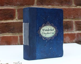 Wanderlust Personalized Travel journal, Starry Sky Space Vintage Journal