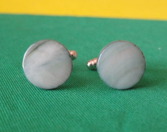 Green-White Shell Cufflinks -- Pale Green Color