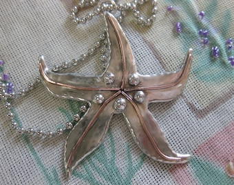 Starfish Pendant Necklace in Sterling Silver and Copper