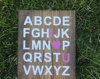 ABC I Love You Sign, Nursery Sign, Baby Room Decor, Alphabet Sign, ABC Wall Art, Baby Shower Gift, Alphabet Sign, Nursery Decor, Wood Sign