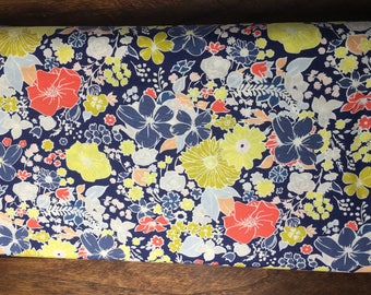 floral fabric, quilting fabric, yellow blue and pink flower, baby quilt, nursery fabric, Art Gallery Fabric , cotton, sewing cotton