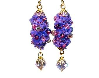Handmade Purple Dangle Earrings, Wire Wrapped, Fiber Art Jewelry, Fuzzy Earrings, Gift For Her, Purple Lover