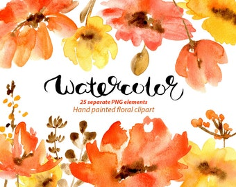 Watercolor floral clipart: 25 red poppies flowers, aquarelle Digital Clip Art, watercolour boho flower scarlet poppy Free Commercial Use PNG