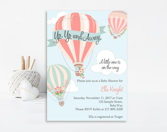 Hot Air Balloon Baby Shower,Up Up and Away, Printable Invitation, Hot Air Balloon Invitation, Baby Shower, Up Up and Away Invitation,