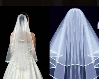 SALE ... Medium Length Two Layers Wedding Bridal Veil With Comb