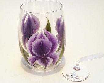 Hand Painted Iris Glass Stemless Wine Glass