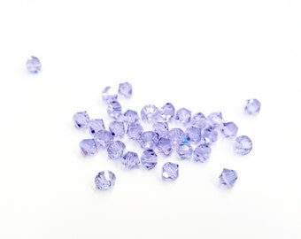 24 Pieces Tiny Swarovski Crystal Bicone Beads, Violet Color, 4mm