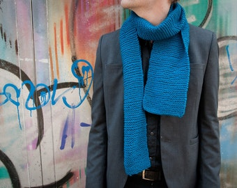 Turquoise scarf, handmade, very light and soft, for men & women, 100 % vegan, soft grunge, hipster