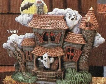 Spooky Halloween Haunted House - Ready to Paint Ceramic Bisque Unpainted Ceramic Bisque Paint Your Own Pottery - U Paint Ceramic Bisque