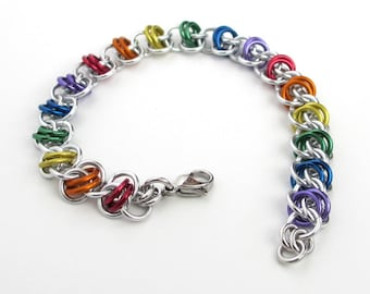 Gay pride bracelet, LGBT chainmaille bracelet, rainbow jewelry, barrel weave chainmaille