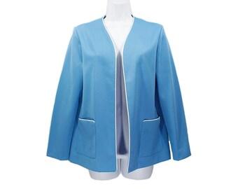 7 DOLLAR SALE---Vintage 70's Light Blue & White Polyester Jacket Size 12