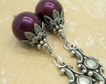Vintage Style Earrings with Blackberry Purple Swarovski Pearls and Silver Charms
