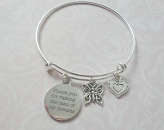 Mother of the Groom Gift, Thank you for raising the man of my dreams , Mother in law ,Mother of Groom Bracelet, Bracelet gift,