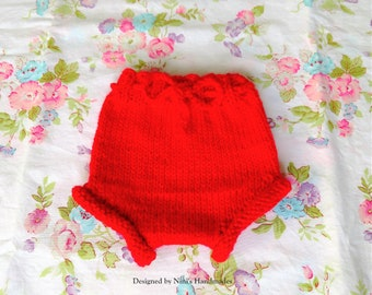 Knit RED Baby Girls Diaper cover Soaker, Red baby shower gift, Red baby clothing, red baby photoprop, knit red baby accessories, knit pants