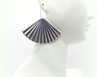 Fan Earrings - Antique Silver Fan Earrings - Silver Fan Earrings - Fan Earrings