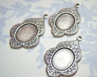 3 - Antiqued silver 10x8mm cabochon cameo setting - SC115