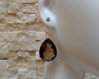 15mm by 20mm Smokey Topaz earrings in Sterling Silver