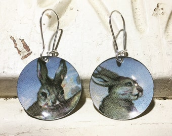 Vintage Easter Bunny Recycled Upcycled Tin Earrings