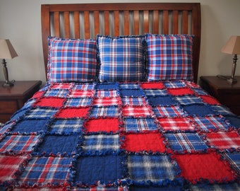 """Americana Rag Quilt, Diagonal Set, Handmade Cotton Flannel Quilt, Twin or Large Throw Size, 75"""" x 92"""""""