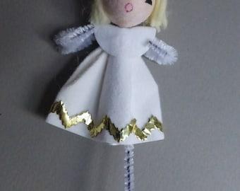 Vintage Spun Cotton Head Angel with Mercury Glass Bead Halo  NOS