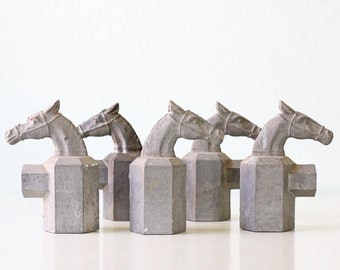 Vintage Metal Horse Post Toppers, set of 5