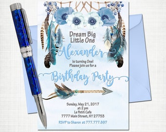 Dreamcatcher baby boy first birthday invitation pastel colors digital party invite blue feathers tribal printable boho invite