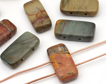 Red creek jasper beads, rectangular two hole, multicolor stone 20mm, 10 pcs